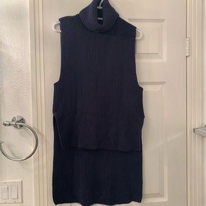 Mango blue turtleneck sleeveless high-low sweater